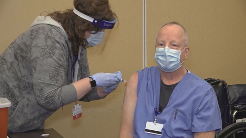Staff were anxious to receive their first round of vaccinations which included emergency room...