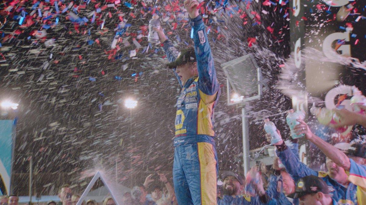 Derek Kraus celebrates after winning the NASCAR K&N West series championship at ISM...