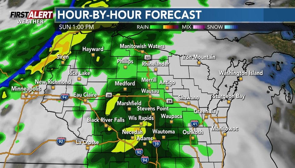 Wet weather is expected Sunday afternoon.