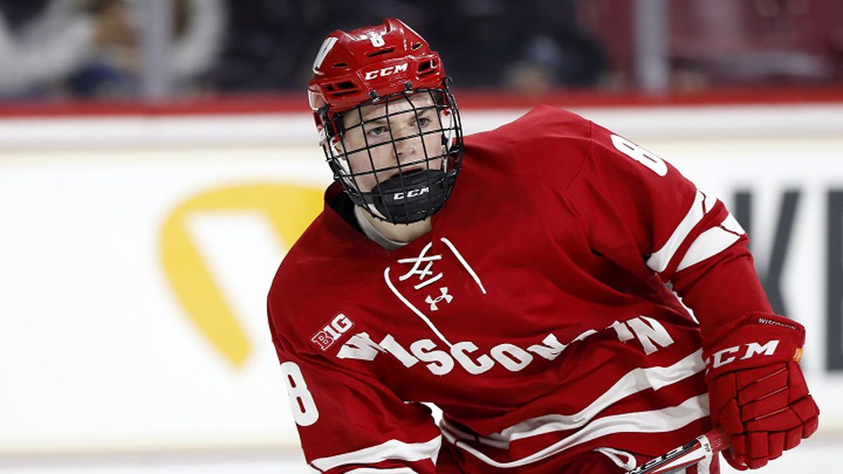 Wisconsin's Cole Caufield during an NCAA hockey game against the Boston College on Friday, Oct....