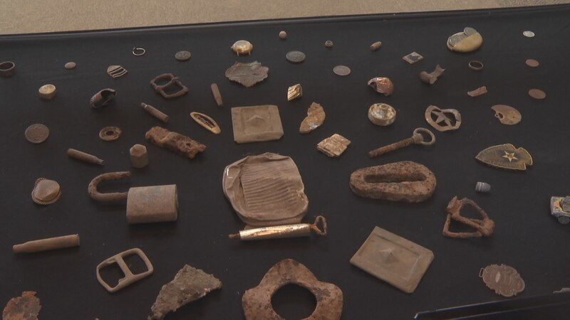 Some of the relics on display found by metal detector Mike Counter over a two year hunt.