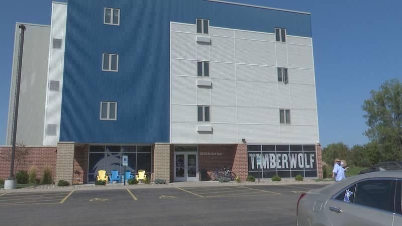 Facade of luxury dorm Timberwolf Suites