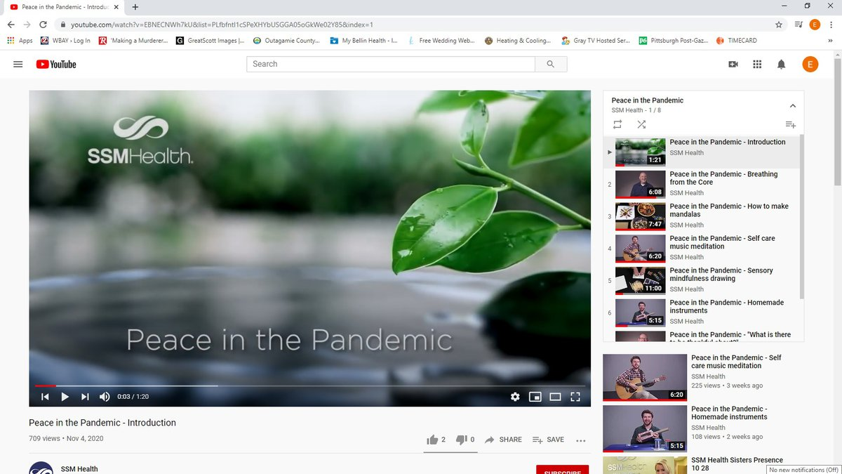 SSM Health offers a series of 8 videos on YouTube to help destress during the pandemic.