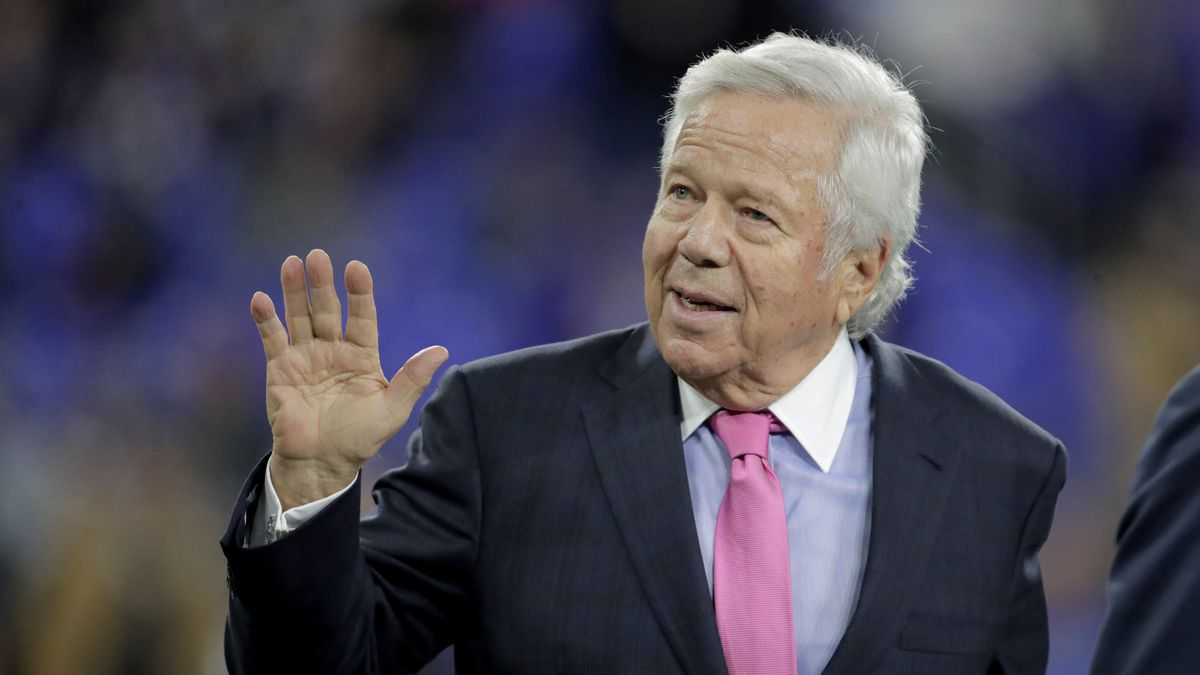 In this Nov. 3, 2019 file photo, New England Patriots owner Robert Kraft waves to fans as he walks on the field prior to the team's NFL football game against the Baltimore Ravens in Baltimore.