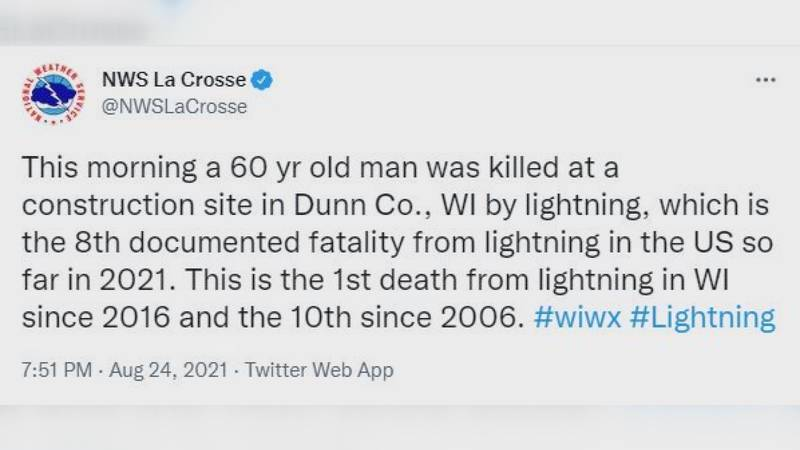 A 60-year-old man was killed and a 20-year-old man was injured Tuesday by a lightning strike in...