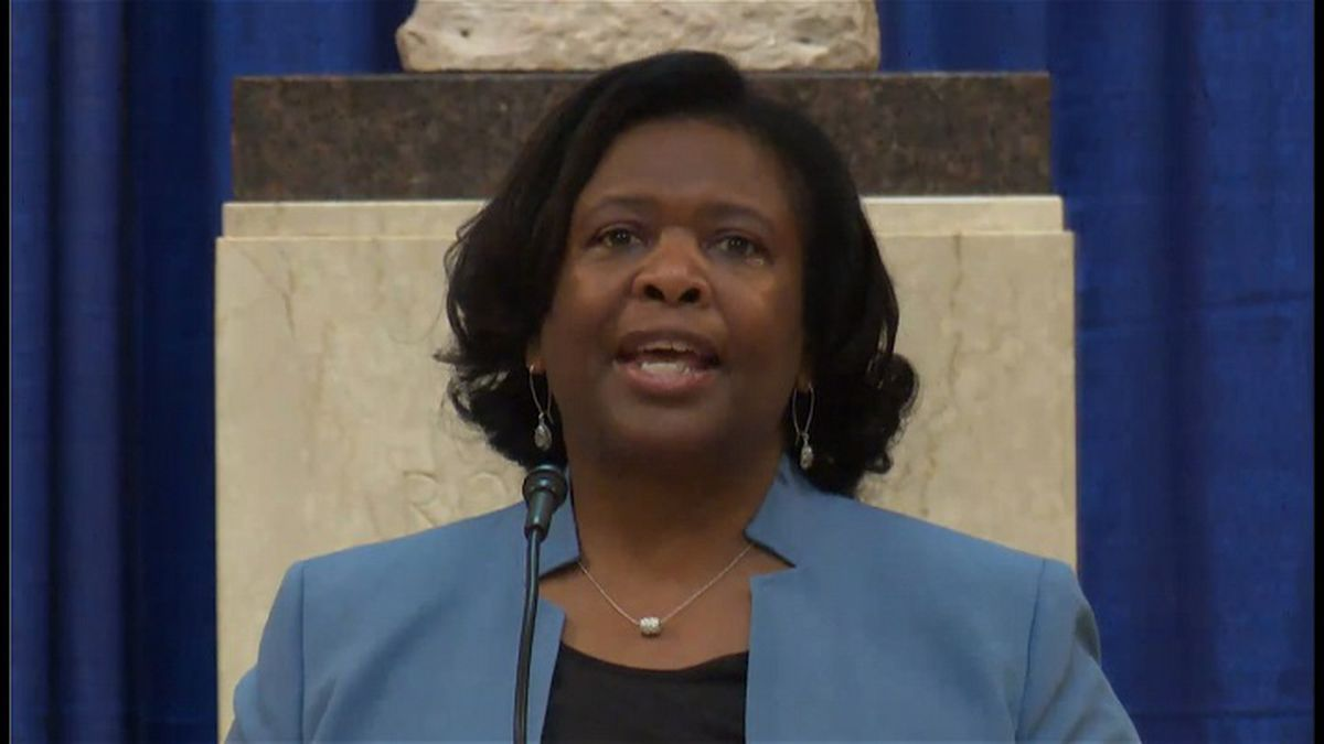 State Supt. Carolyn Stanford Taylor gives State of Education address in capitol rotunda (Photo source: WisEye)