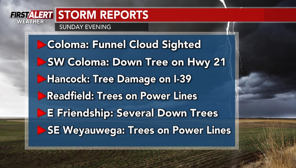 Damaging winds and down power lines were reported in the southern parts of the area.