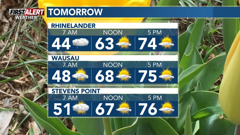 Few brief shower chances through mid-morning, followed by suntabulous, windy and warm...