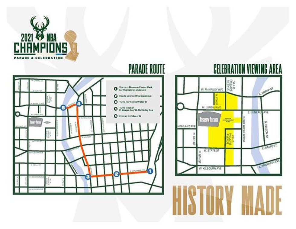 Route to take place through downtown Milwaukee and end with championship celebration in Deer...