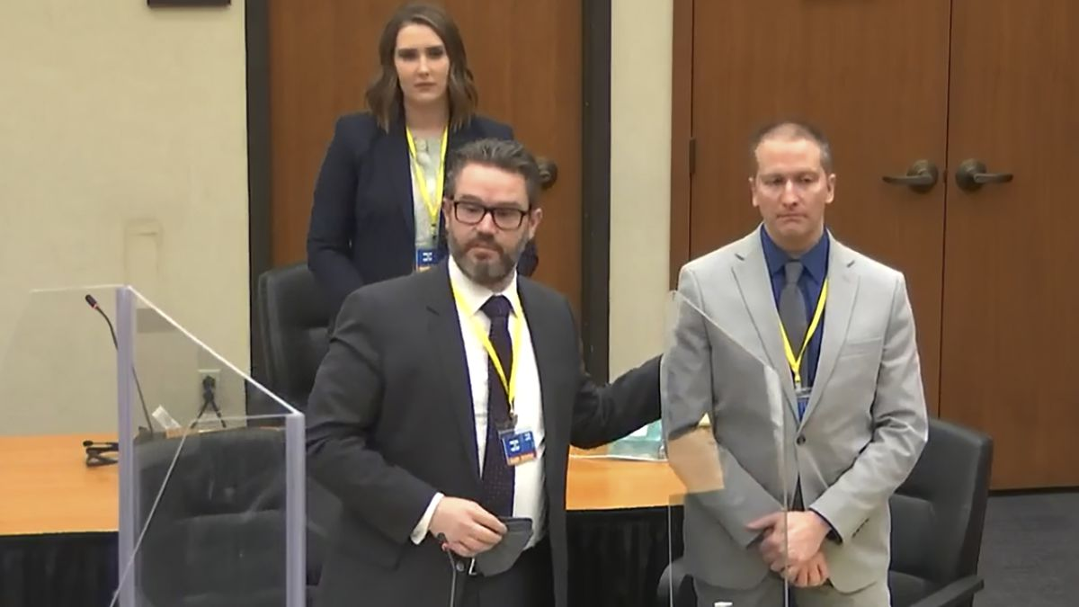 In this screen grab from video, defense attorney Eric Nelson, left, defendant and former...