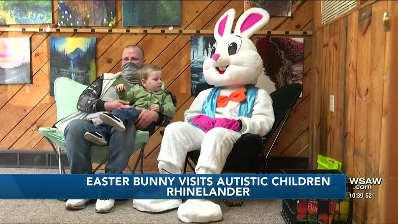 Easter Bunny Visits Autistic Children