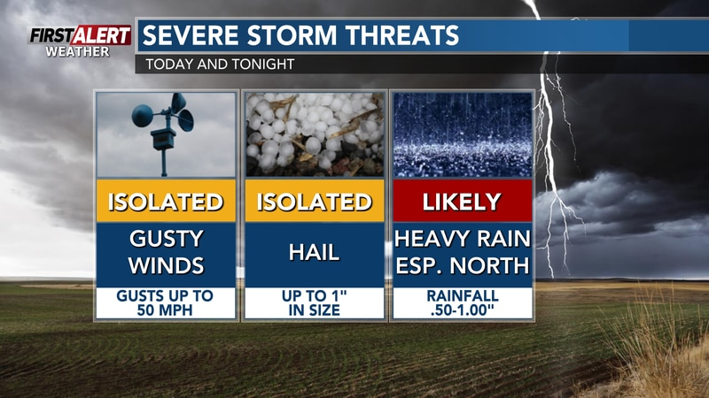 """Strongest storms could contain hail up to 1"""" in diameter"""