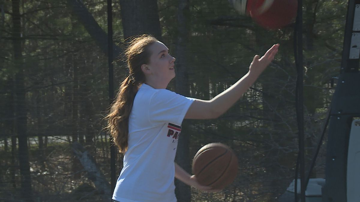 SPASH basketball player Tahlia Moe at her home in Stevens Point, Wisconsin, on April 30, 2020. (WSAW)