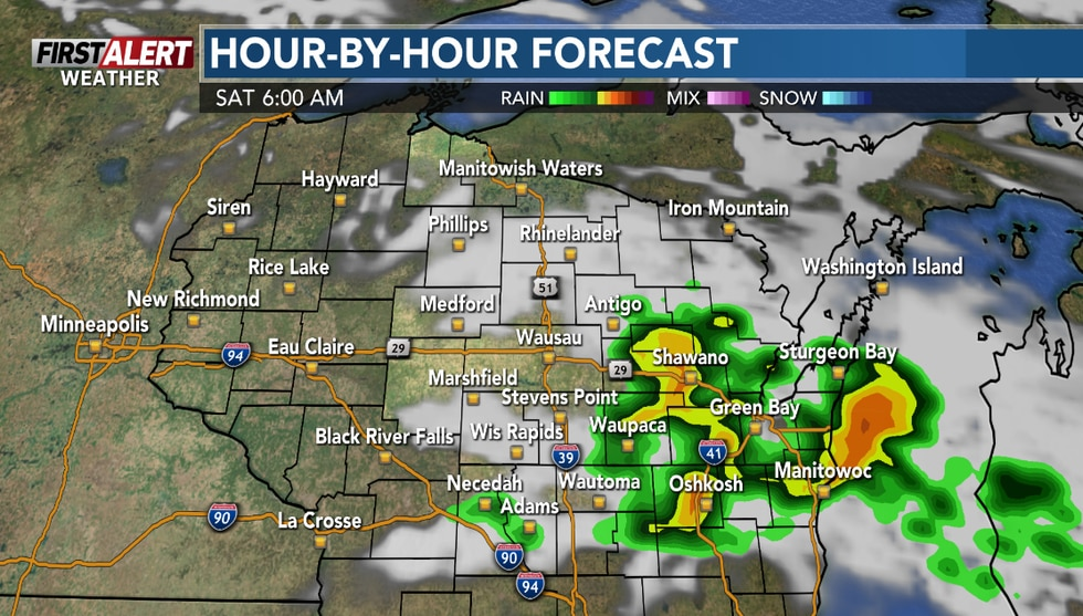 Showers and a chance of a storm leading up to daybreak Saturday.