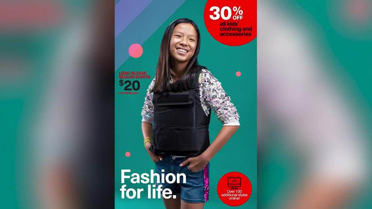 A graphic designer is getting attention for images that look like back-to-school fashion ads, featuring kids in bulletproof gear. Yes, he?s trying to send a message. (Source: WESH, Hearst, Richard Johnson / Spectacle Photo, CNN)