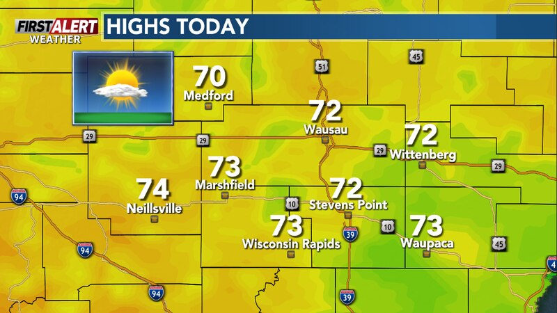 Sun along with clouds this afternoon and warmer.