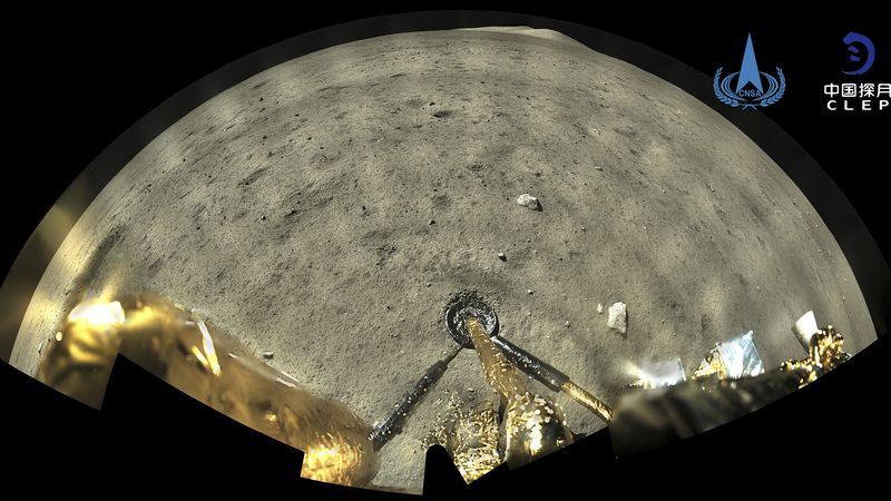 This image taken by panoramic camera aboard the lander-ascender combination of Chang'e-5...