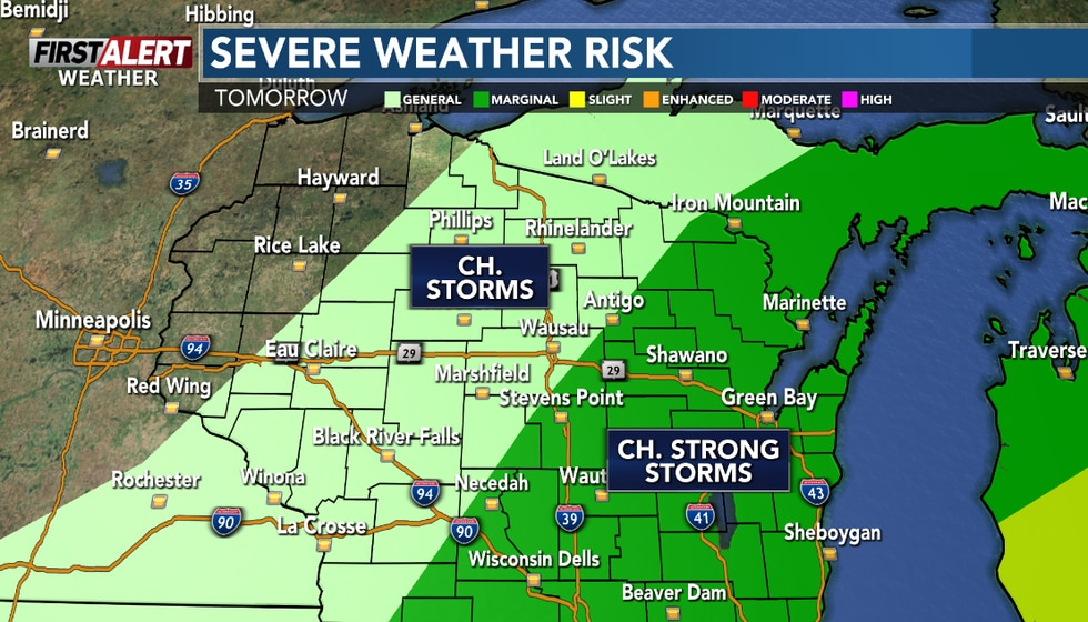 The storms will taper off south and east of Wausau on Saturday morning.