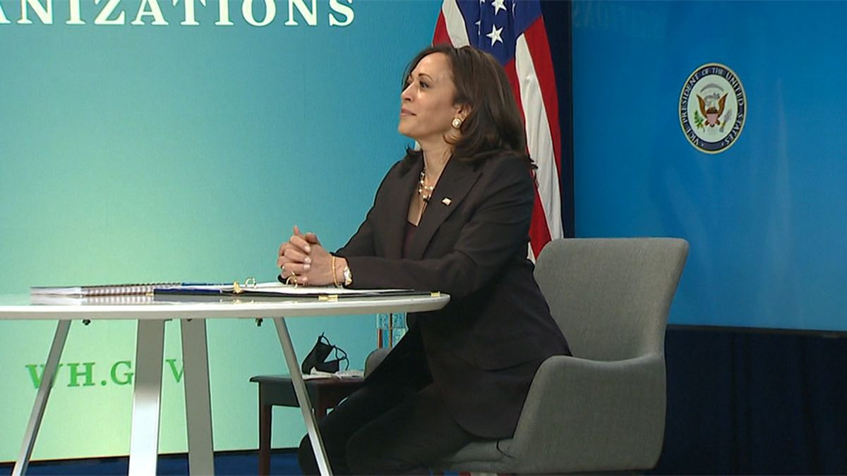 Vice President Kamala Harris attends a virtual roundtable on migration on Monday.