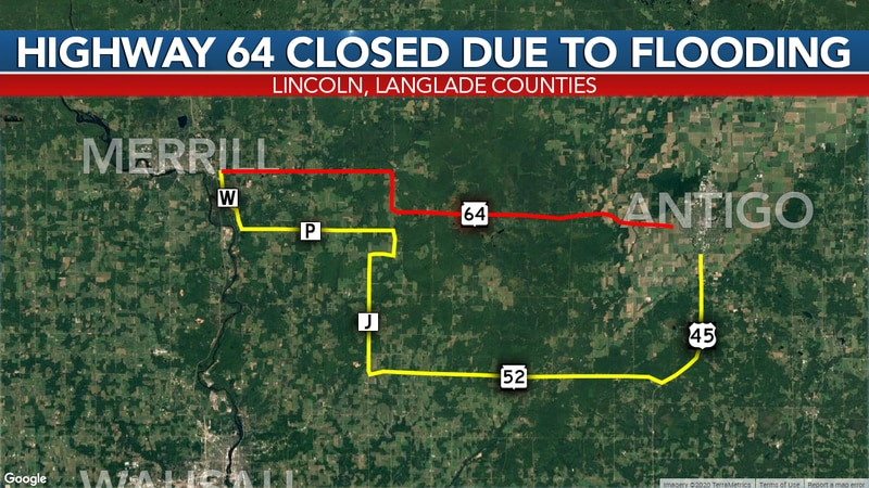 Highway 64 is closed due to flooding near the Pine River bridge. Traffic is being detoured...