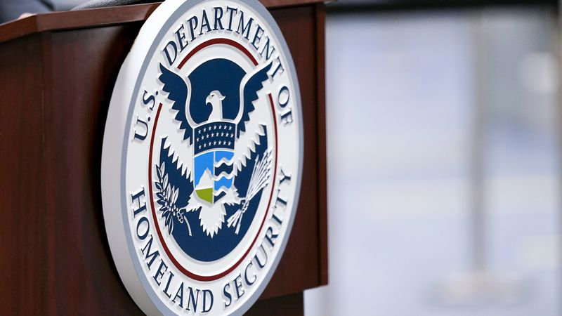 In this Nov. 20, 2020, file photo a U.S. Department of Homeland Security plaque is displayed a...