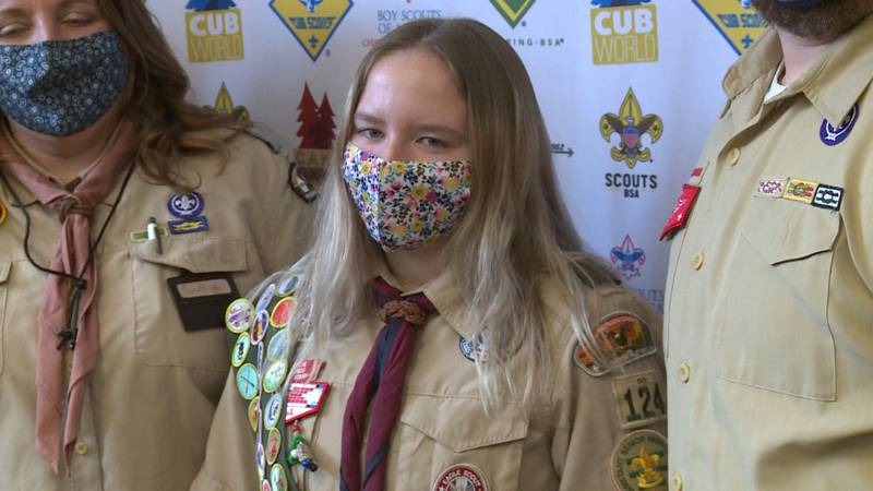 Madelynn Branco will become one of the nation's first female Eagle Scouts in Feb. 2021. She'll...