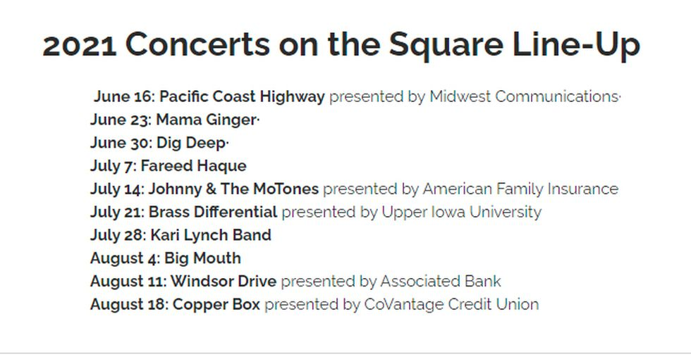 Concerts on the Square schedule