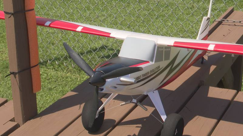 A model plane awaits its chance for takeoff