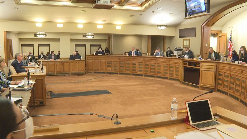 Assembly Speaker Robin Vos testifies to the Joint Committee on Finance in favor of the...