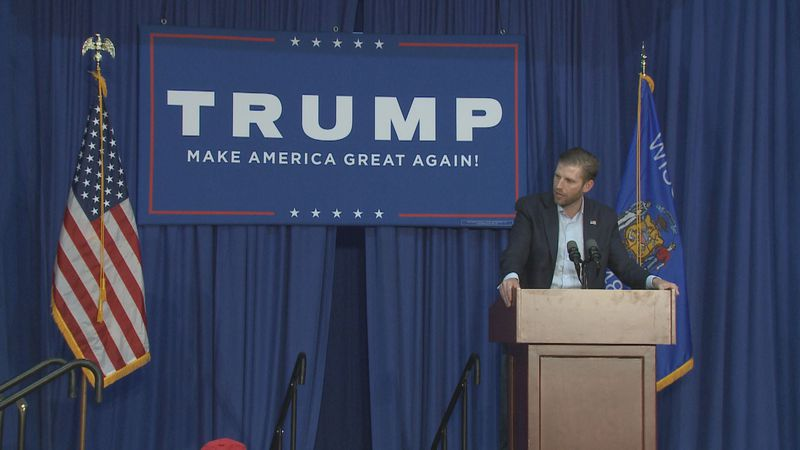 Eric Trump speaks at a MAGA event in Rothschild, Wis.