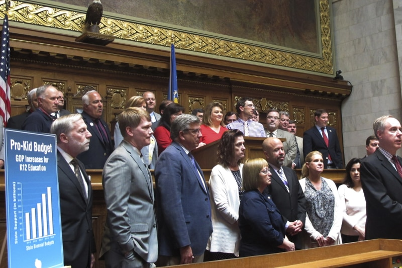FILE - In this May 22, 2019, file photo, Wisconsin Assembly Speaker Robin Vos, standing at...