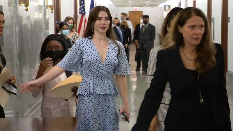 Simone Biles, from left, and McKayla Maroney arrive to deliver testimony about the Larry Nassar...