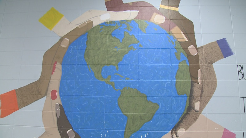 A mural painted by students on the walls of the Tomorrow River School District years ago...