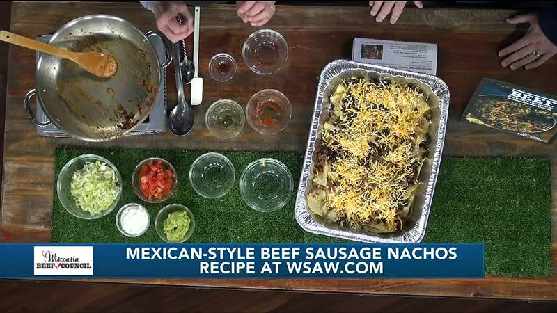 Mexican-style beef sausage nachos to kick your tailgate up a notch