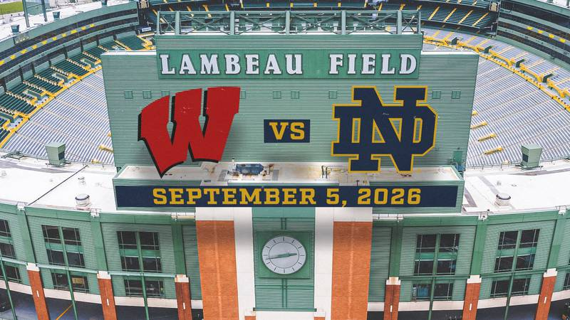 The Badgers are set to play the Notre Dame Fightin' Irish at Lambeau on Sept. 5, 2026.