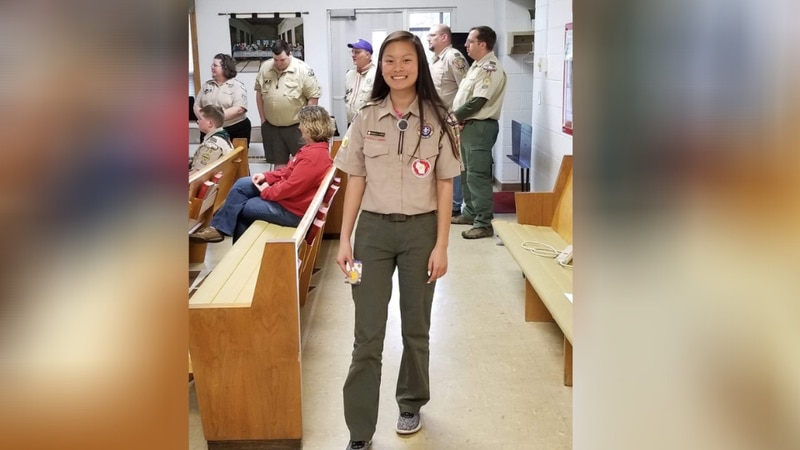 Makela Humke, out of girls Troop 7070 in Portage, Wisconsin, is the first female Eagle Scout to...
