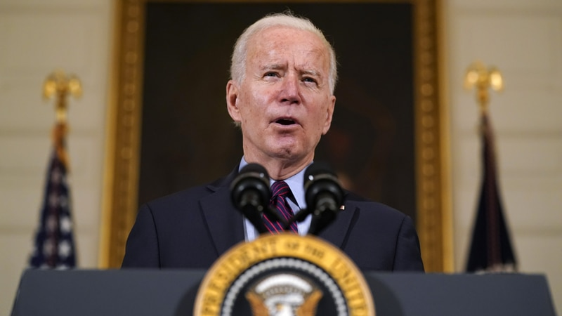 FILE - In this Friday, Feb. 5, 2021, file photo, President Joe Biden speaks in the State Dining...