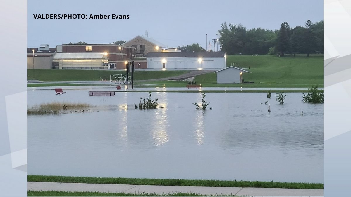 The flooded road to Valders Elementary. July 15, 2021.