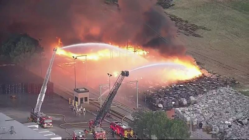 A plastics factory fire is expected to burn until Thursday in Grand Prairie, Texas.