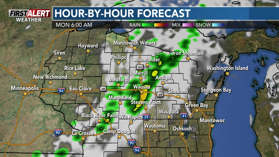 Early storms could affect the area leading up to daybreak.