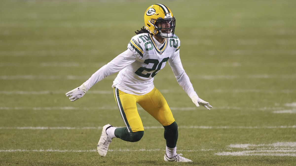 Green Bay Packers cornerback Kevin King (20) in action against the Chicago Bears during the...