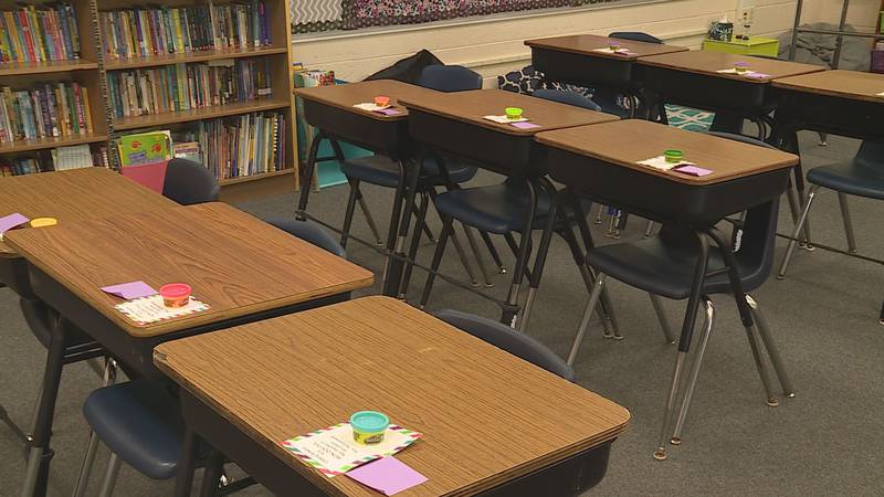 Roosevelt Elementary School in Plover, WI. prepares for in-person learning for the school year.
