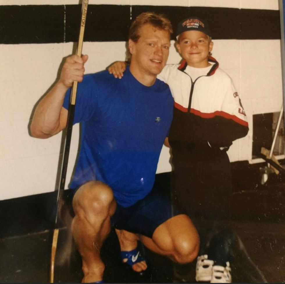 A young Jake stands next to his dad Gary, then an NHL star.