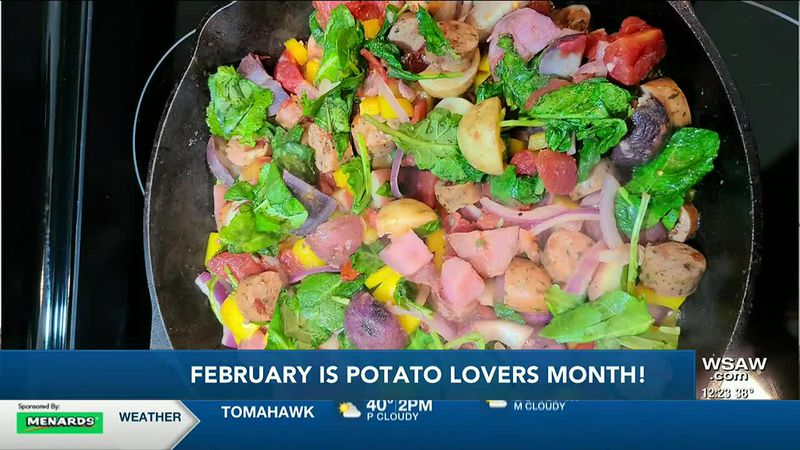 Tasty, nutritious one pot meal with potatoes, kale, sausage and peppers