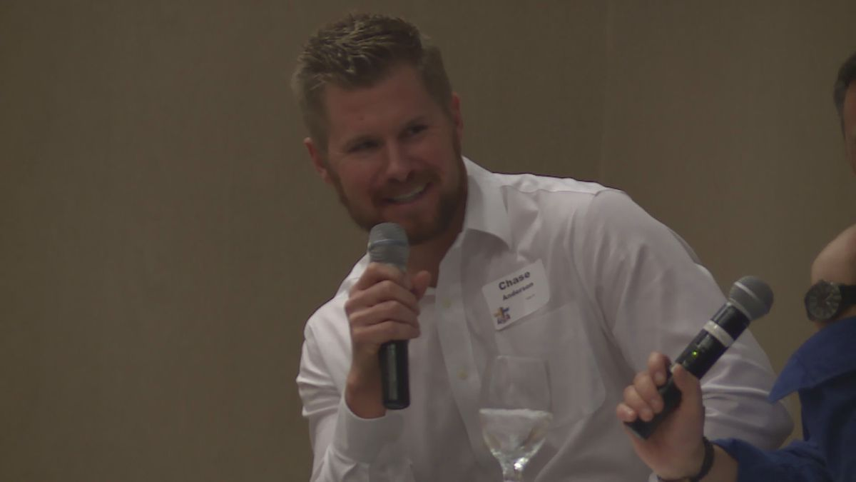 Toronto Blue Jays pitcher Chase Anderson at an event for Fellowship for Christian Athletes in Marshfield, Wisconsin on November 14, 2019. (WSAW)