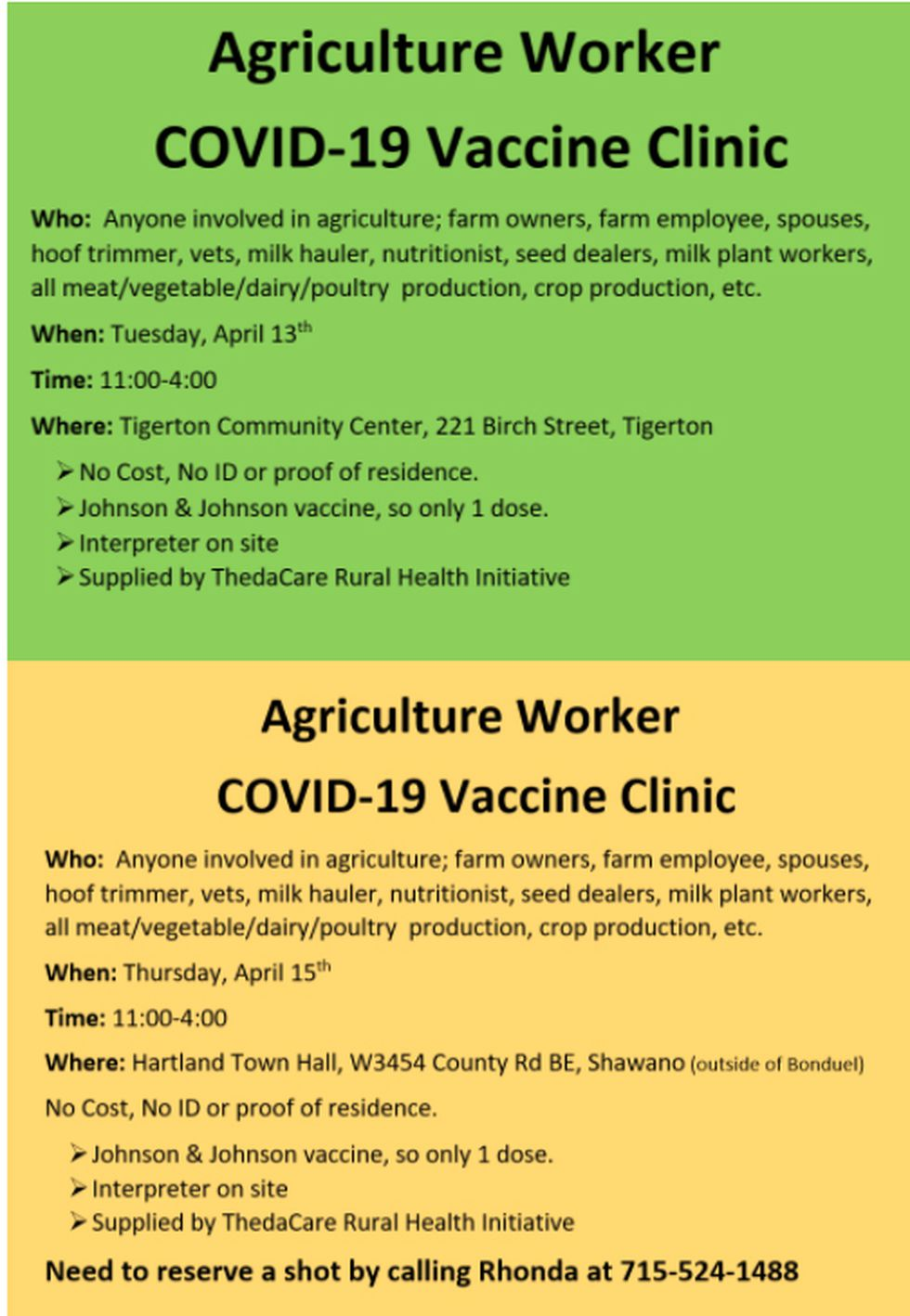 Vaccination clinic info