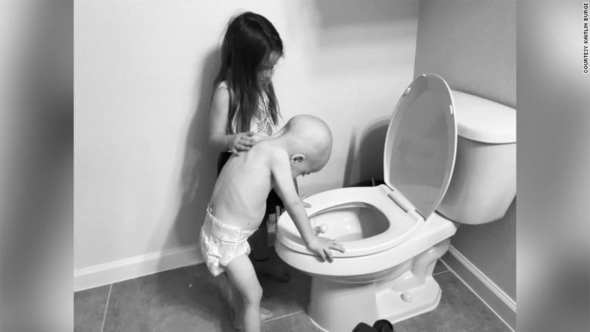 Kaitlin Burge shared a photo of her 4-year-old son Beckett leaning over a toilet with his 5-year-old sister Aubrey by his side. Beckett was diagnosed with acute lymphoblastic leukemia when he was 3.