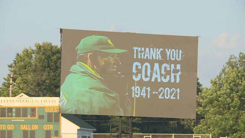 A video at the Celebration of Life for coach Wayne Steffenhagen on July 24, 2021.