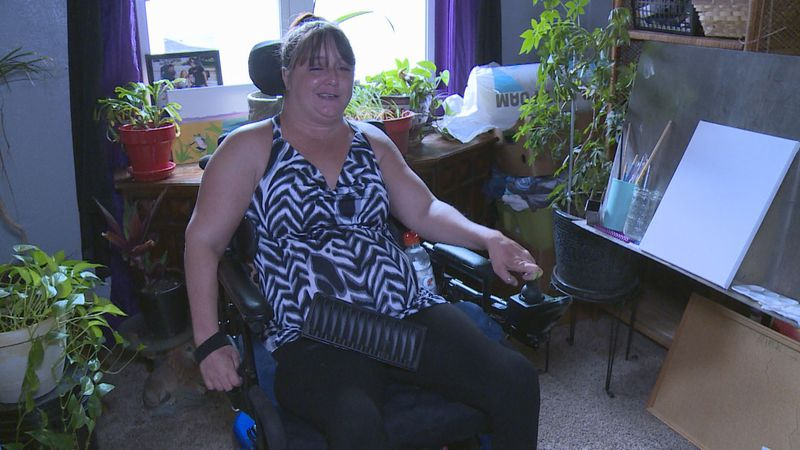 38-year-old Crystal Lambrecht hopes to raise enough money to purchase a home to call her own in...