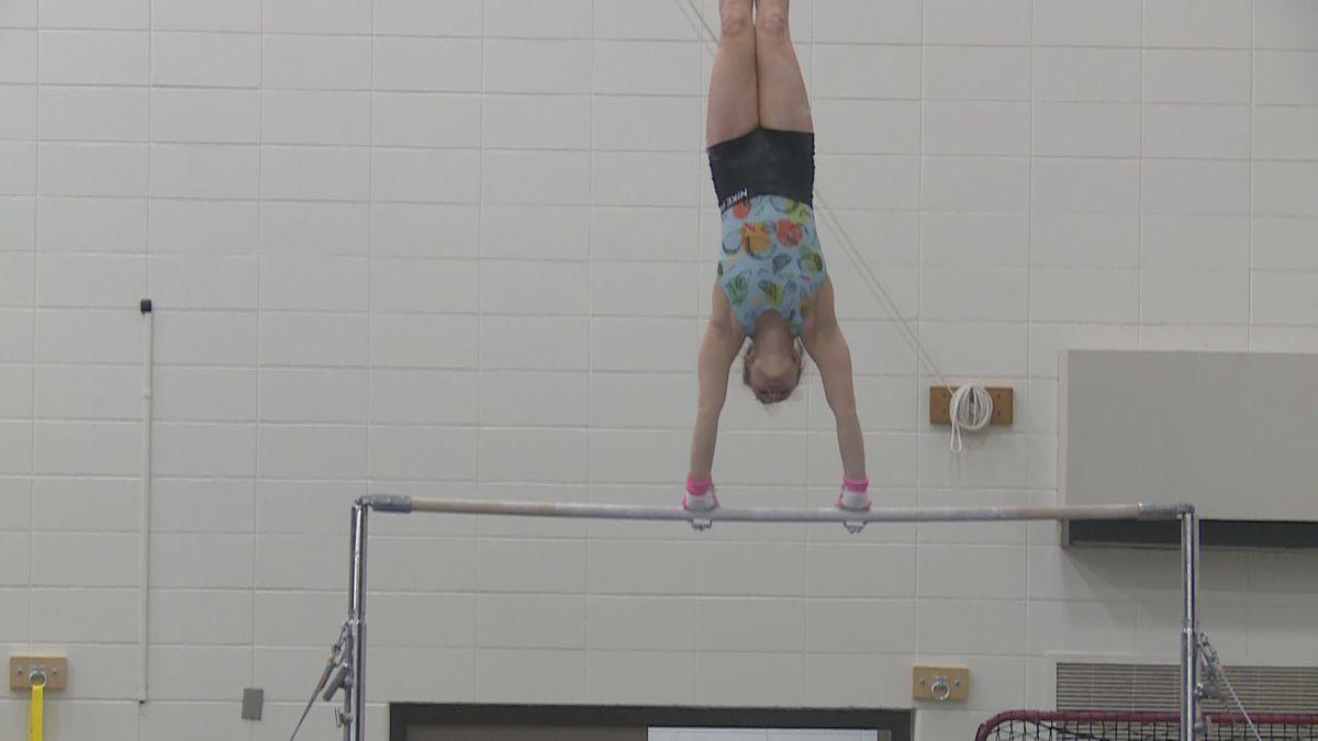 Marshfield gymnast Gracie Holland during practice at Marshfield High School in Marshfield, WI, on January 28, 2020. (WSAW)